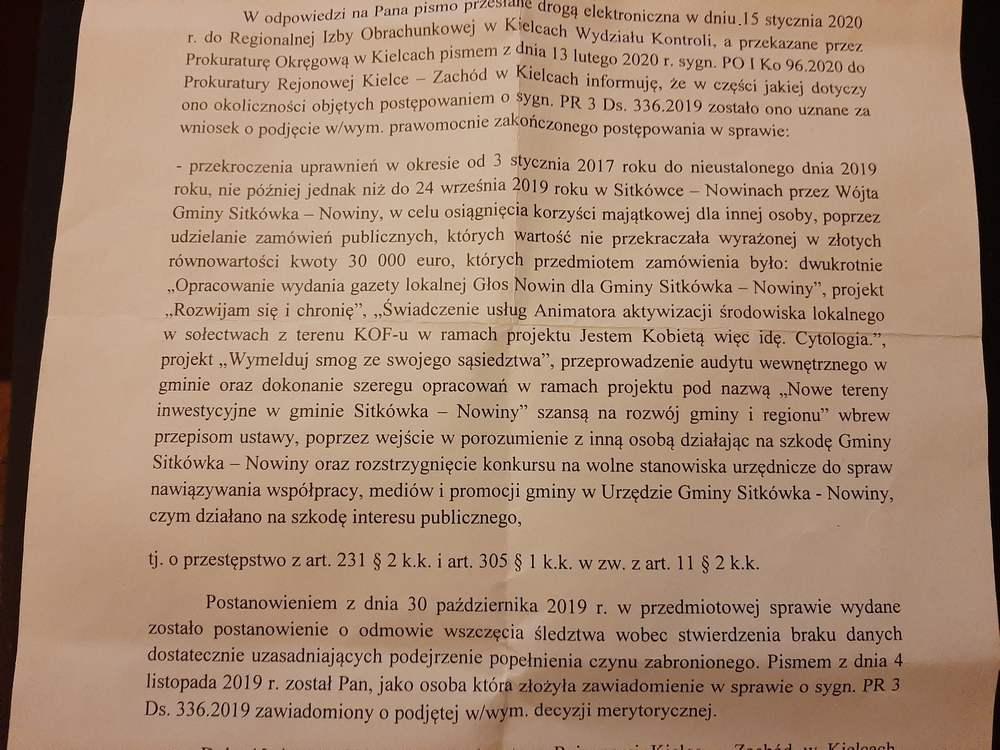 Wójt z Nowin jest bezkarny? Kto ochrania polityka PSL?