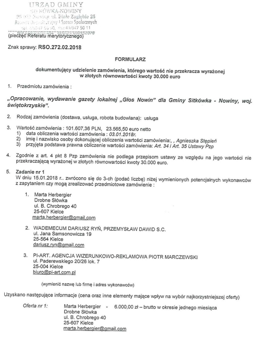 Ustawione zamówienia w gminie Zagnańsk. Robert Kaszuba dał zarobić znajomej z MZWiK