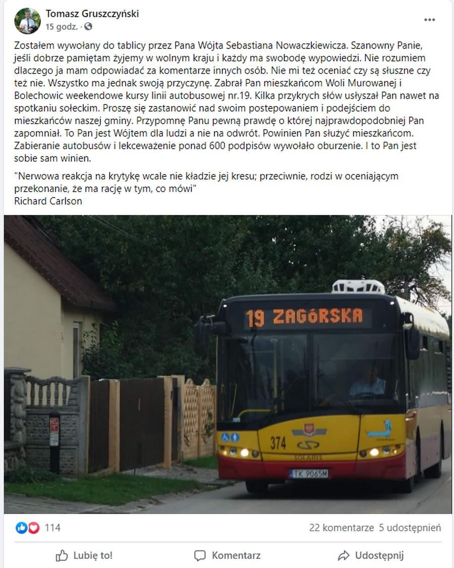 Zabrał autobus i grozi policją
