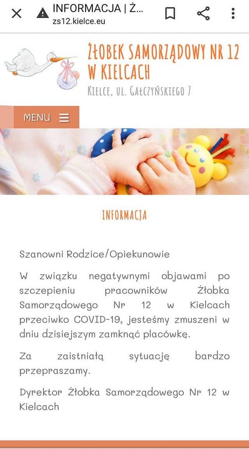 Żłobek w Kielcach zamknięty po negatywnych skutkach szczepień na covid-19