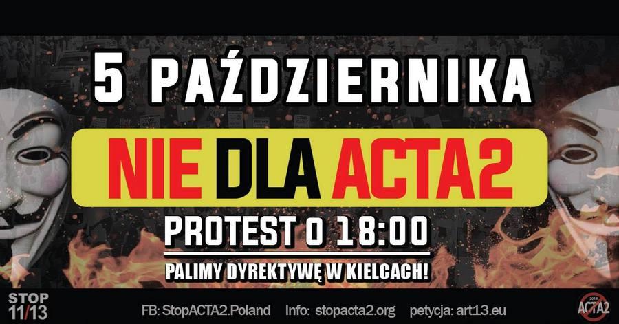 Stop ACTA2! W piątek protest na Rynku w Kielcach