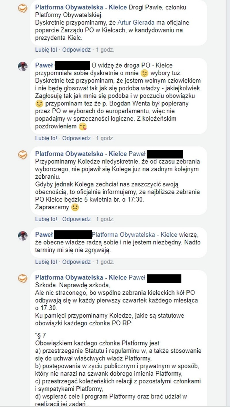 Kielecka PO poucza na Facebooku swoich członków na kogo mają głosować