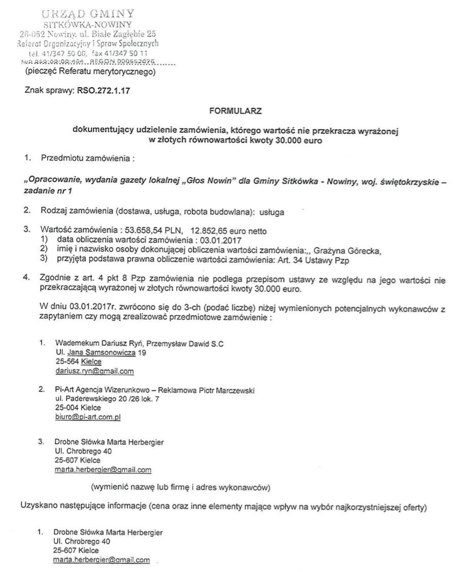 Nieuczciwe praktyki w gminie Sitkówka-Nowiny. Znajomi wójta Nowaczkiewicza zarabiają na publicznych zamówieniach