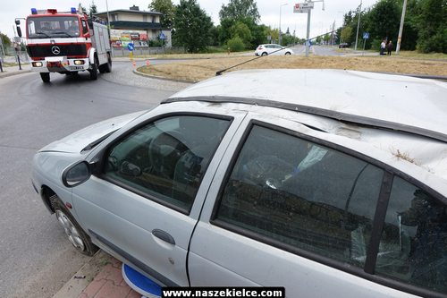 kielce wiadomości Pijany kierowca dachował na rondzie przy Batalionów Chłopskich (ZDJĘCIA)
