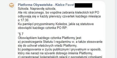 kielce wiadomości Kielecka PO poucza na Facebooku swoich członków na kogo mają głosować