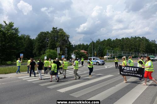 kielce wiadomości Domagają się podwyżek. Pracownicy Inspekcji Weterynaryjnej blokowali ulicę Ściegiennego (ZDJĘCIA,WIDEO)