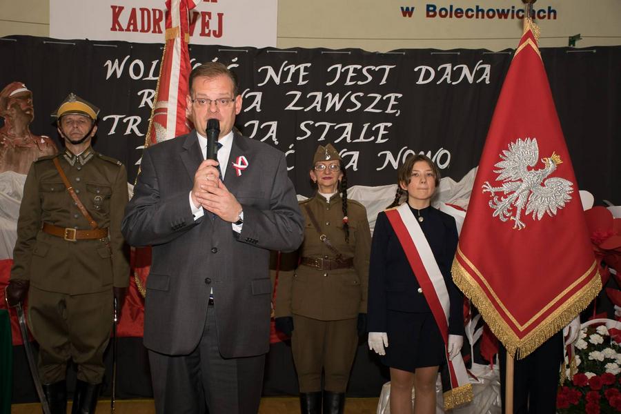 Nadanie imienia I Kompanii Kadrowej szkole w Bolechowicach 24.11.2018