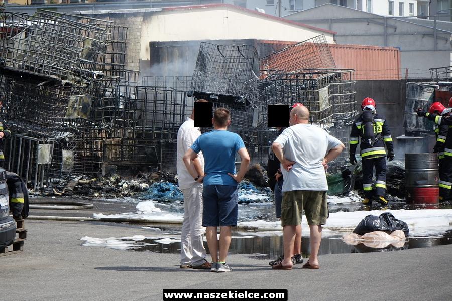 Pożar składowiska chemikaliów na Kolberga 29.07.2018