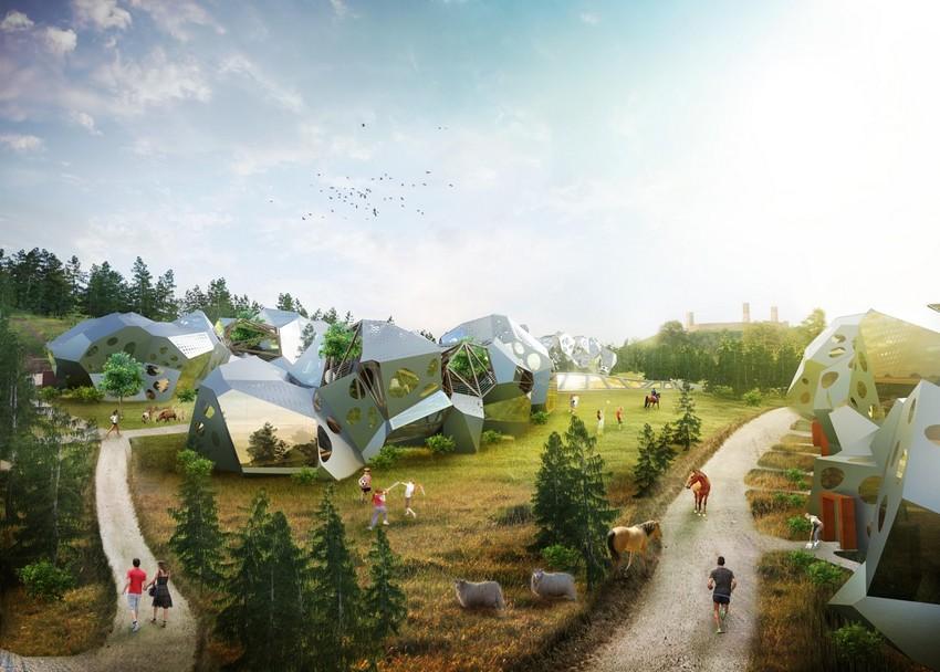 Kosmiczne osiedle u podnóża Zamku w Chęcinach wizualizacje